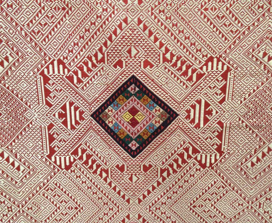 Wandbehang Wandteppich Seide weiß rot handgewebt