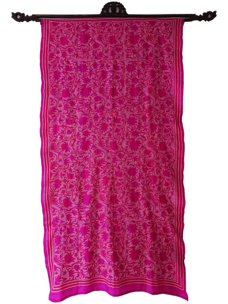 Wandbehang Seide handbestickt Blüten pink