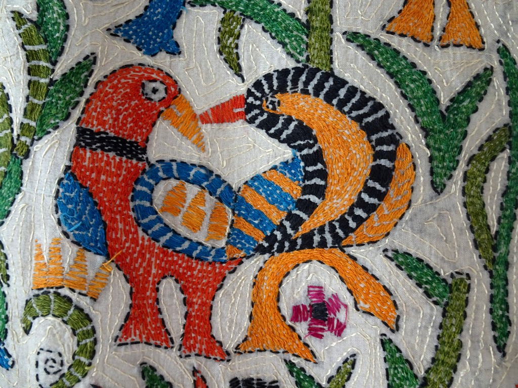 Wandbehang Kantha Vögel Seide