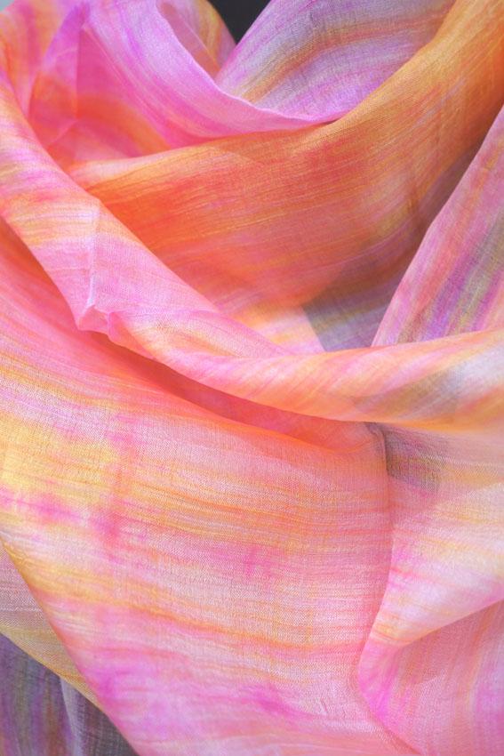 Seidenschal leicht und bunt rosa