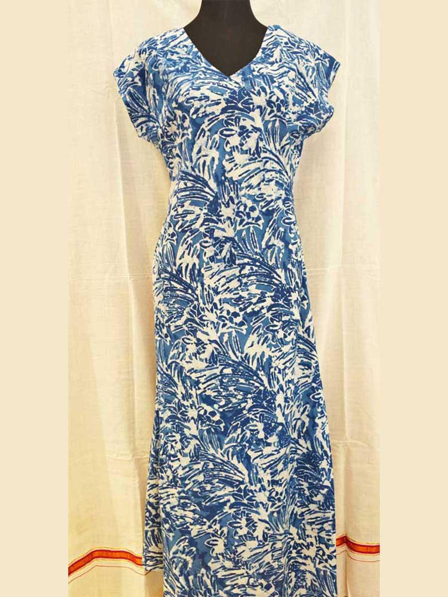 Kleid blau gemustert